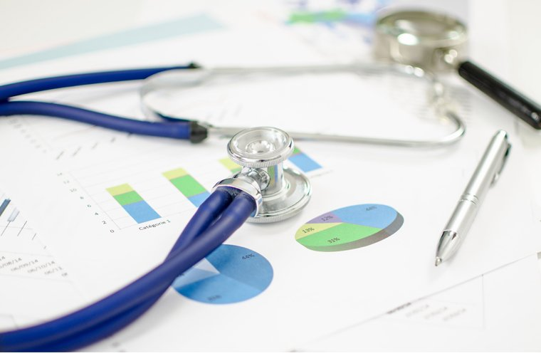 Stethoscope placed on financial charts