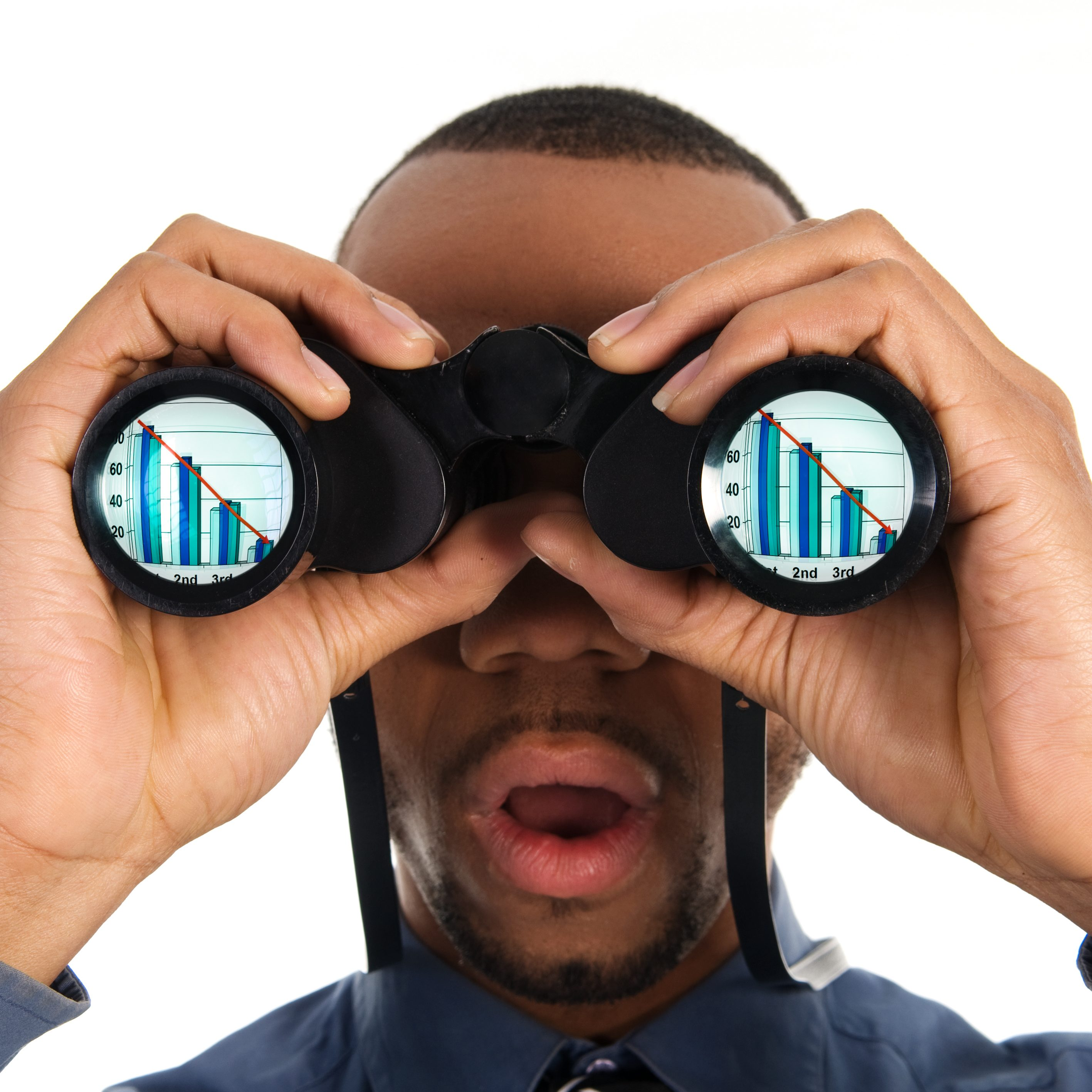 business person looking into binoculars to bankruptcy