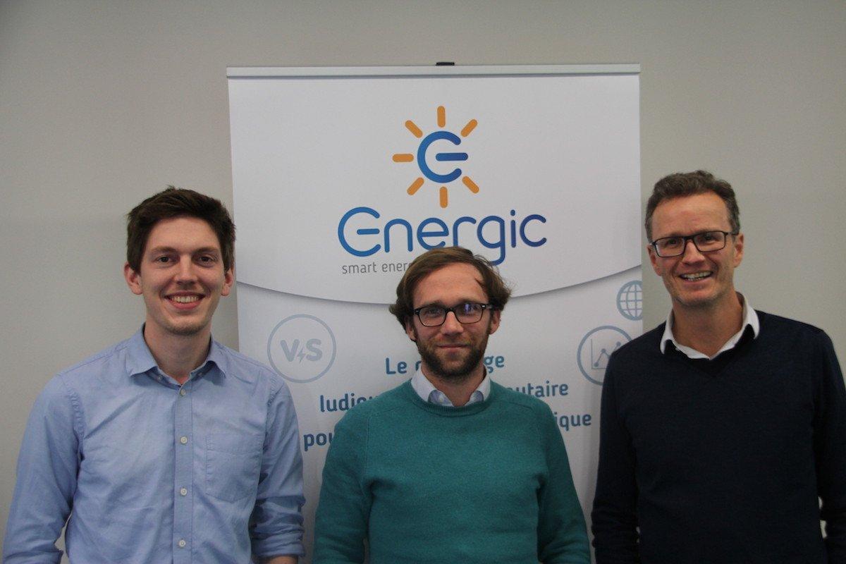 Les 3 fondateurs d'Energic (de gauche à droite) : Quentin Oustelandt, co-fondateur responsable des opérations, Tristan Reneaume, co-fondateur responsable commercial et Alexis Delepoulle, co-fondateur président