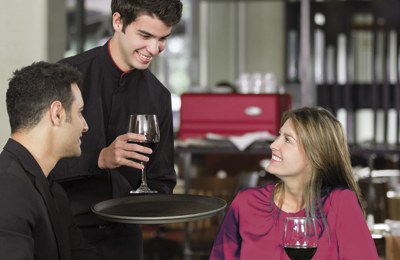 Couple in a romantic dinner at the restaurant